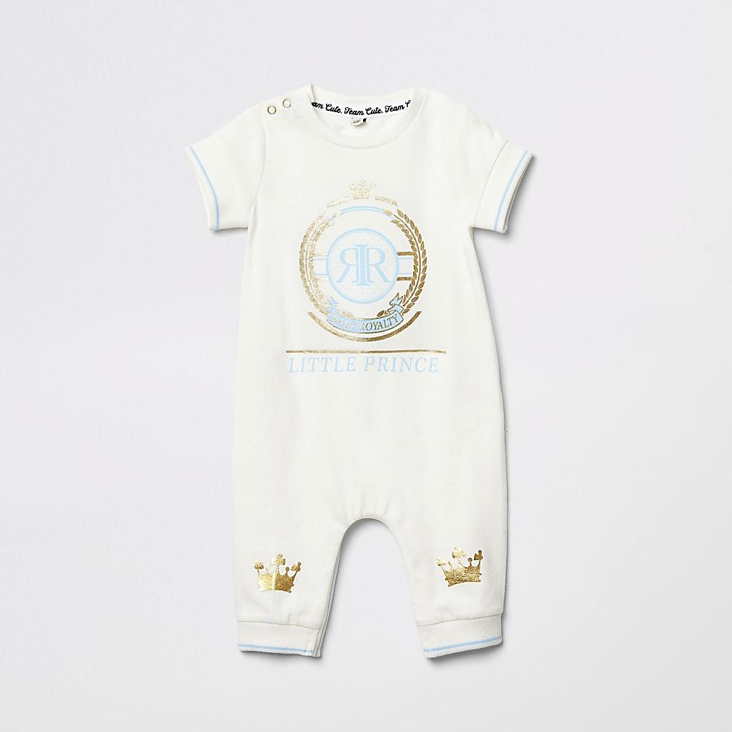 Baby cream 'Little prince' print baby grow