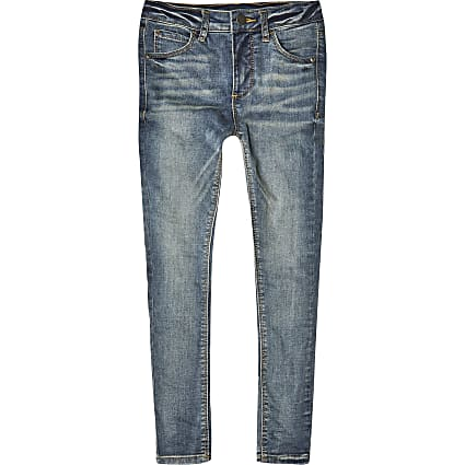 Boys blue Ollie spray on skinny jeans