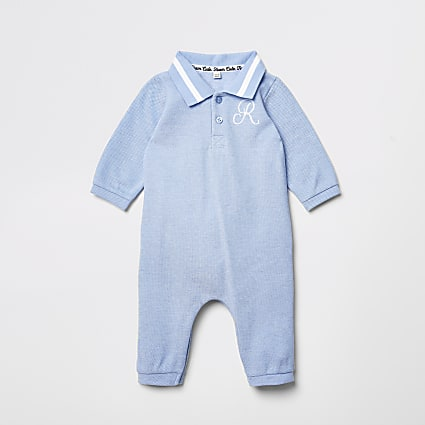 Baby blue R embroidered collar romper