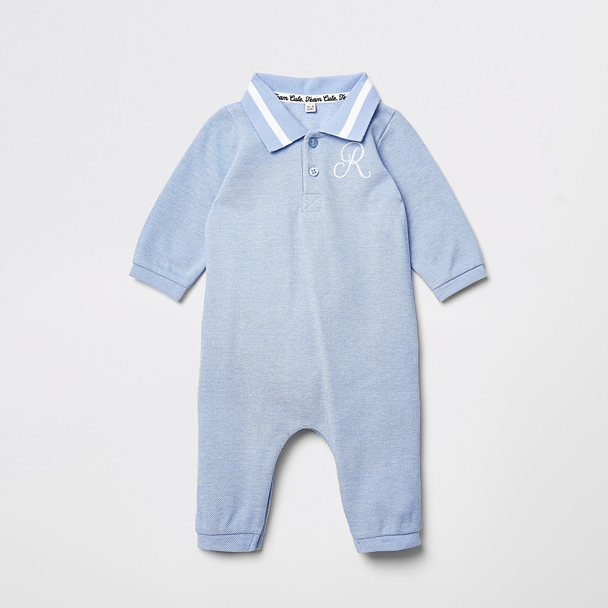Baby blue R embroidered collar baby grow