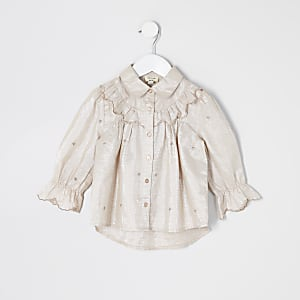 Chemise brodée roseà volants Mini fille