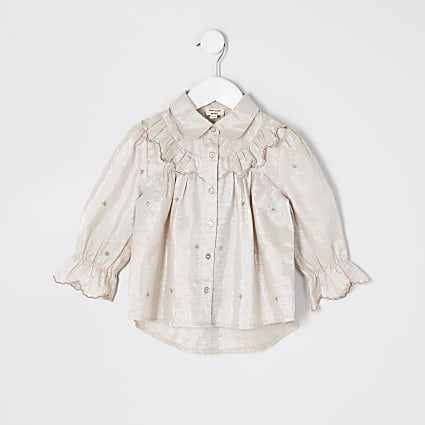 Mini girls pink embroidered frill shirt