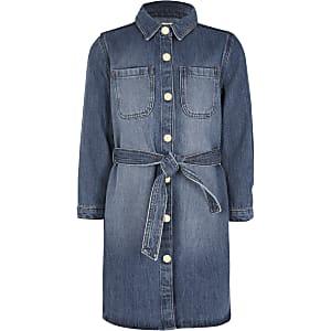 Blaues Jeansblusenkleid mit Gürtel für Mädchen