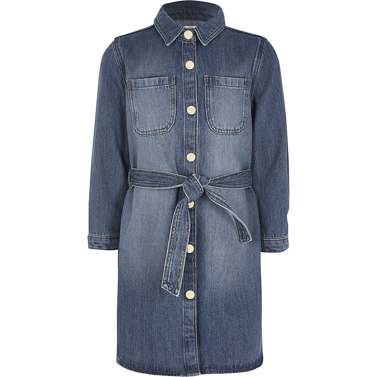 Girls blue belted denim shirt dress