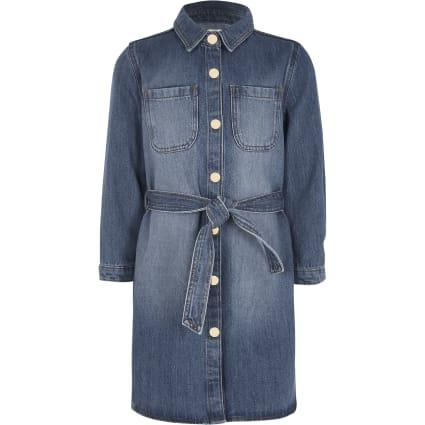 Girls blue belted denim shirt dress