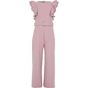Roze jumpsuit met ceintuur en ruches voor meisjes