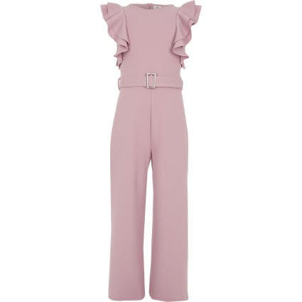 Girls pink belted frill jumpsuit