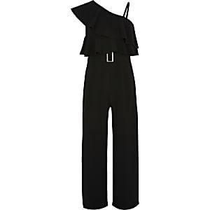 Zwart jumpsuit met asymmetrische schouders voor meisjes