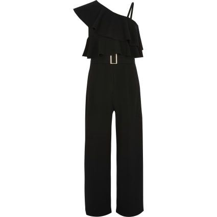 Girls black asymmetric shoulder jumpsuit