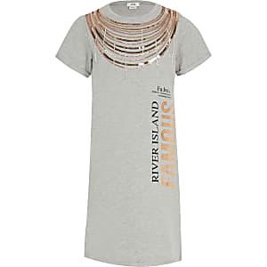 Grijze verfraaide T-shirtjurk met 'Famous'-tekst voor meisjes