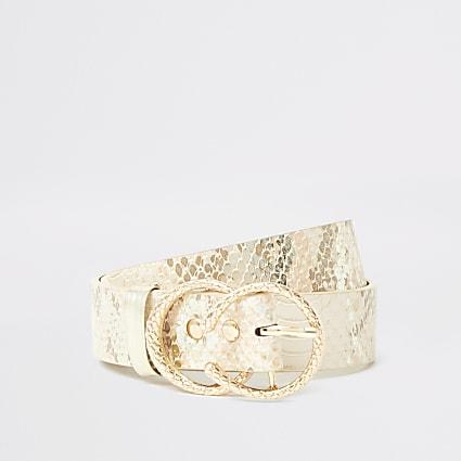 Girls pink snake print double ring belt