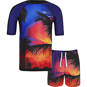 Boys red palm print swim top set