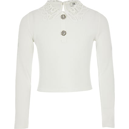 Girls white lace collar ribbed top