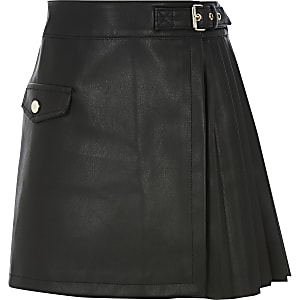 Jupe plissée en cuir synthétique noir pour fille