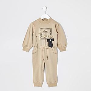 Mini - Bruine sweater jumpsuit met print voor meisjes