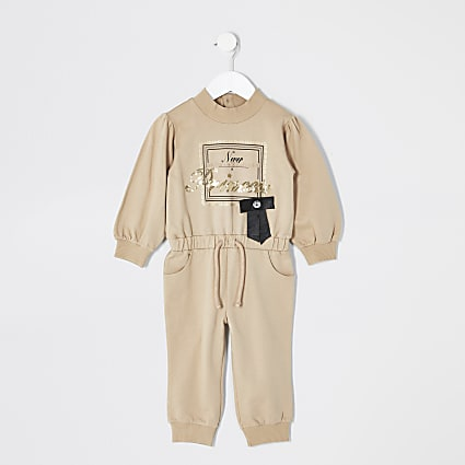 Mini girls brown printed sweatshirt jumpsuit