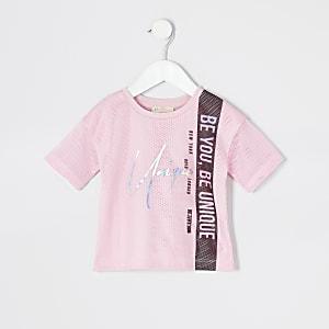 Mini - RI Active - Roze T-shirt met mesh voor meisjes