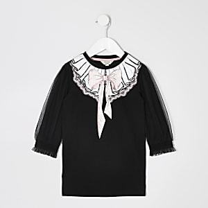 Schwarzes Sweaterkleid mit Mesh-Einsatz am Ärmel für kleine Mädchen