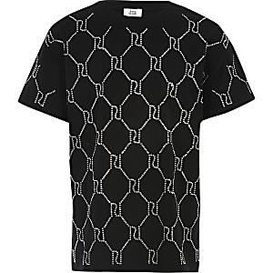 Schwarzes T-Shirt mit Strass und RI-Monogramm für Mädchen