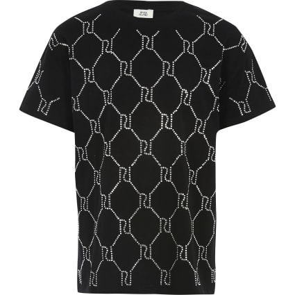 Girls black RI diamante monogram T-shirt