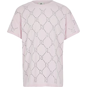Pinkfarbenes T-Shirt mit Strass und RI-Monogramm für Mädchen