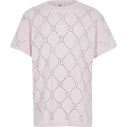 Girls pink RI diamante monogram T-shirt