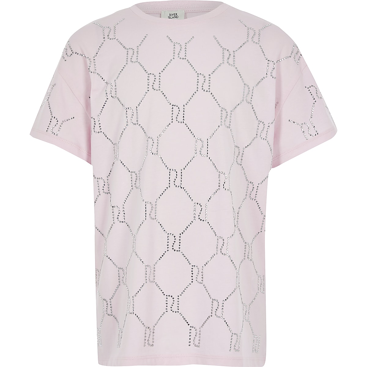 Girls pink RI diamante monogram T-shirt