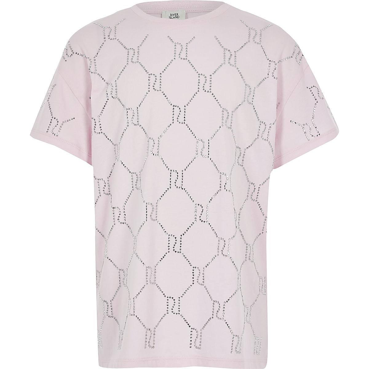 Roze T-shirt met RI-monogram siersteentjes voor meisjes
