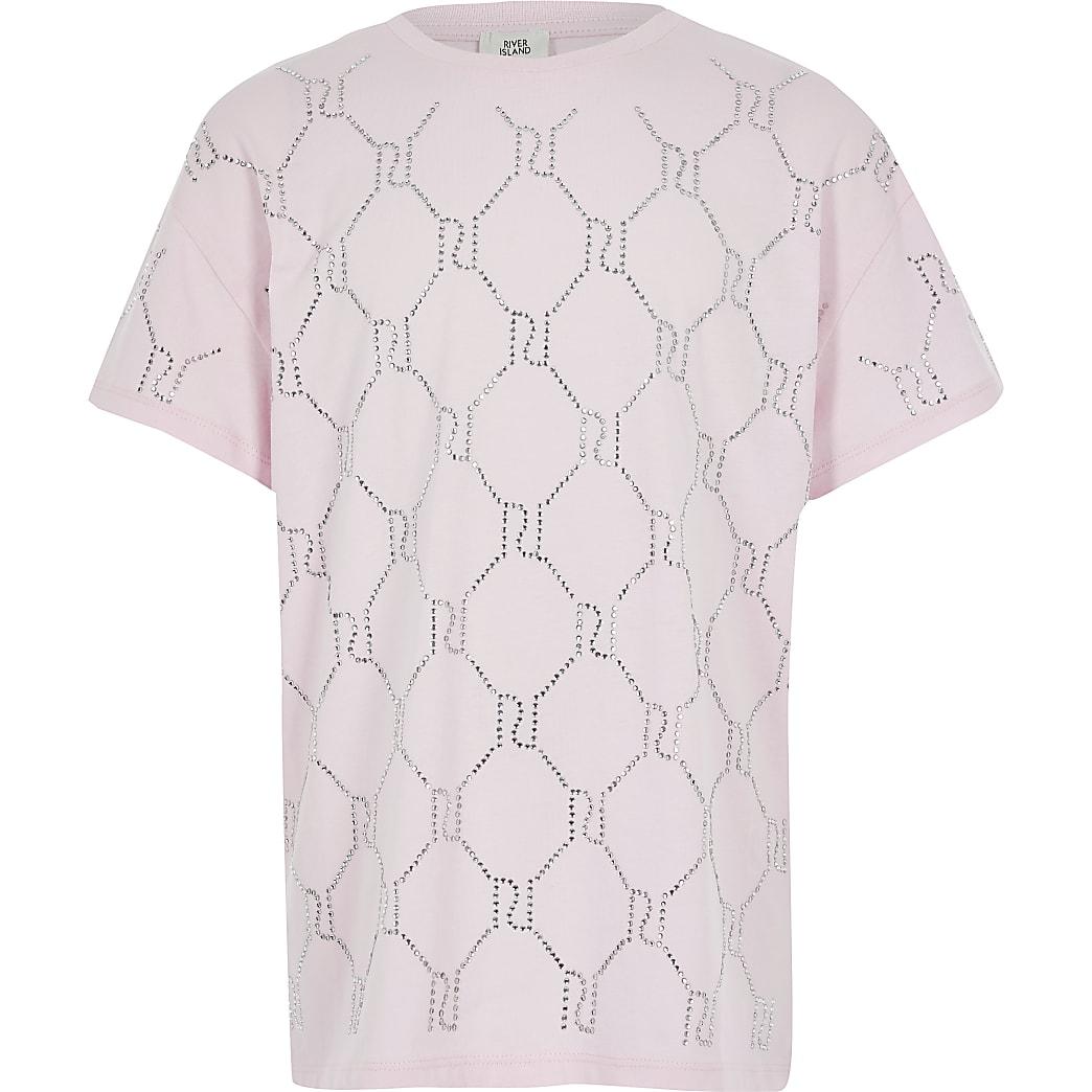 T-shirt rose RI monogramme à strass pour fille