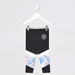 RI Active - Zwarte leggings met panelen voor mini-meisjes