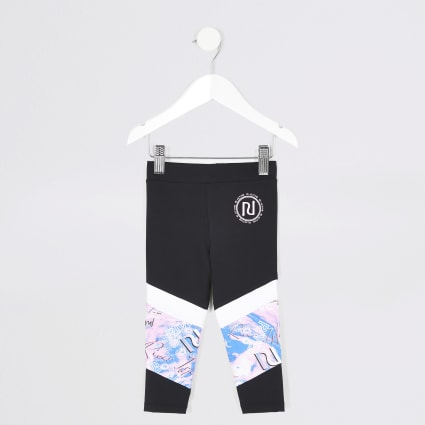 Mini girls black RI Active panelled leggings