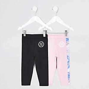 Mini - RI Active - Set van 2 roze en zwarte leggings voor meisjes