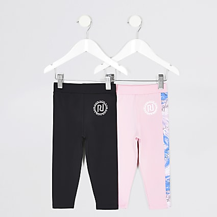 Mini girls RI Active pink leggings 2 pack