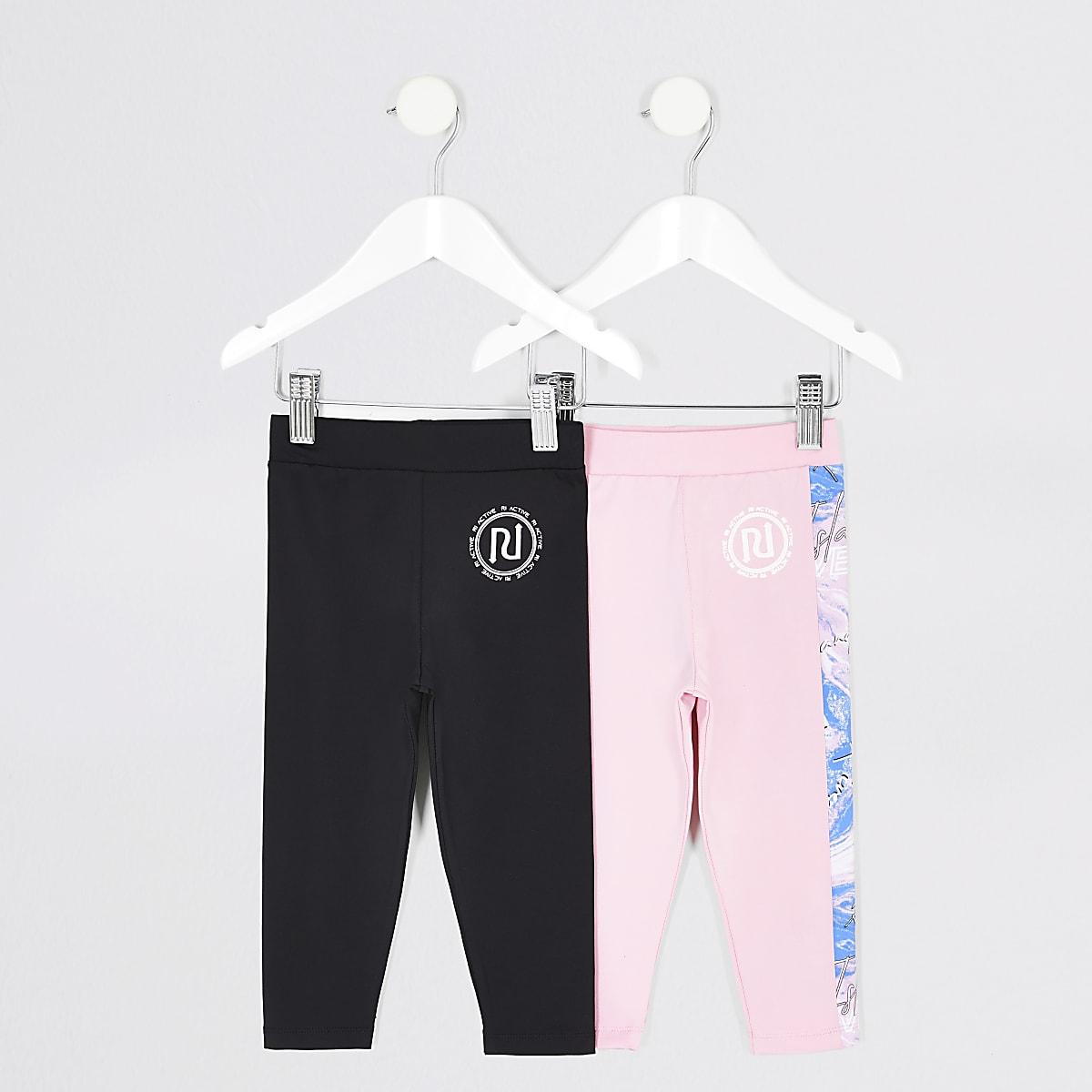 Mini girls RI Active pink leggings 2 pack