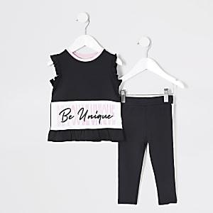 RI Active – Schwarzes T-Shirt-Outfit für kleine Mädchen