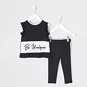 RI Active – Ensemble avec t-shirt noir Mini fille