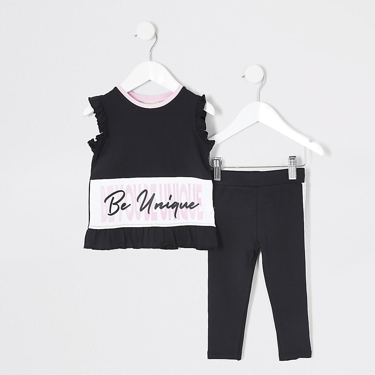 Mini girls RI Active black T-shirt outfit