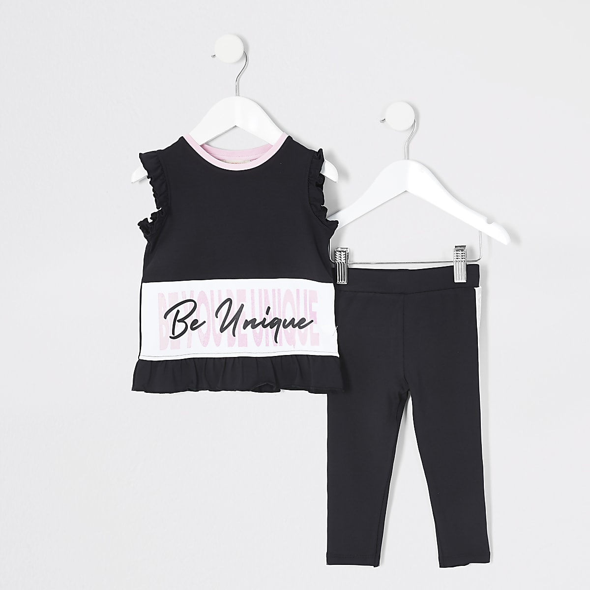 Mini - RI Active - Outfit met zwart T-shirt voor meisjes