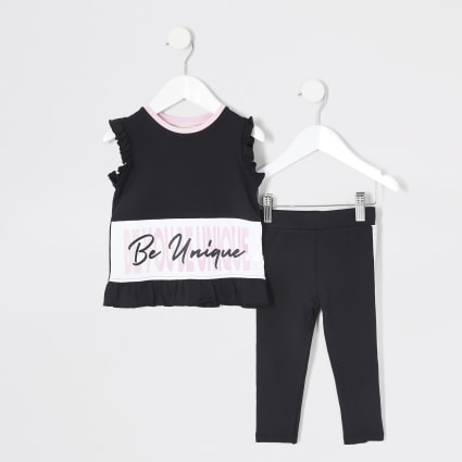 Mini girls RI Active black T-shirt outfit