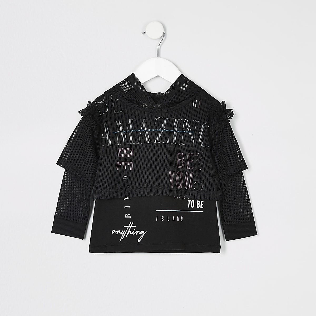 Mini girls RI Active black mesh hoodie