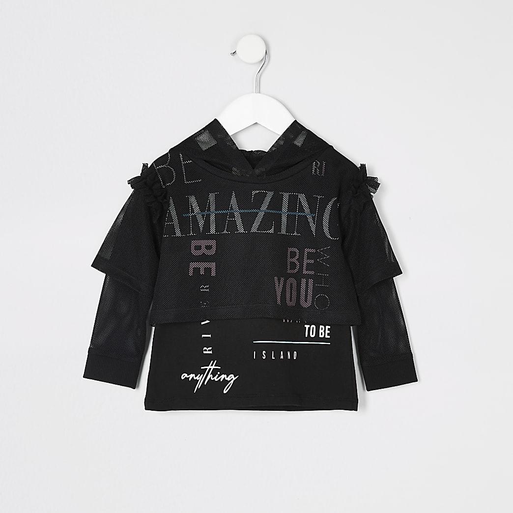 Mini - RI Active - Zwarte hoodie met mesh voor meisjes