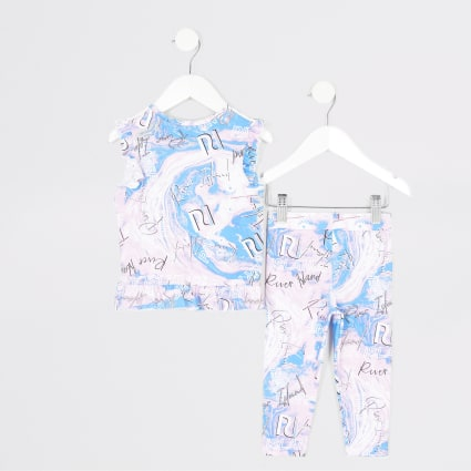 Mini girls RI Active pink T-shirt outfit