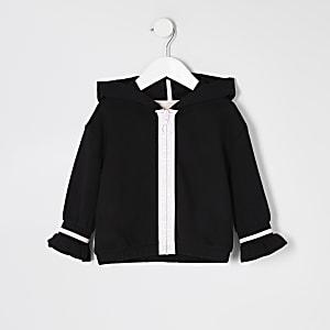 Schwarzer RI-Hoodie mit vorderem Reißverschluss für kleine Mädchen