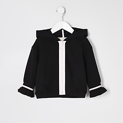 Mini girls black RI zip front hoodie