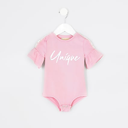 Mini girls RI Active pink 'Unique' bodysuit