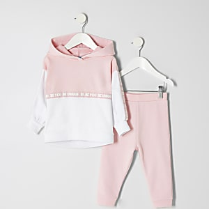 Mini girls RI Active pink block hoodie outfit
