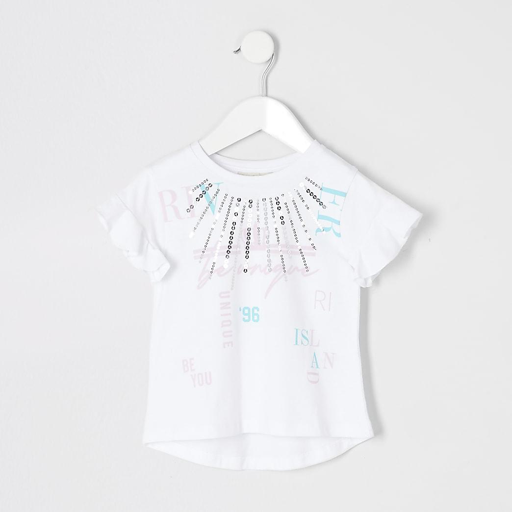 Mini - RI Active - Wit T-shirt met print voor meisjes