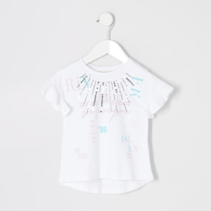 Mini girls white RI Active printed T-shirt