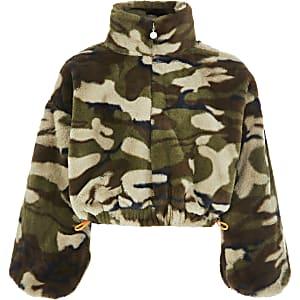Groene camouflage sweater van imitatiebont voor meisjes