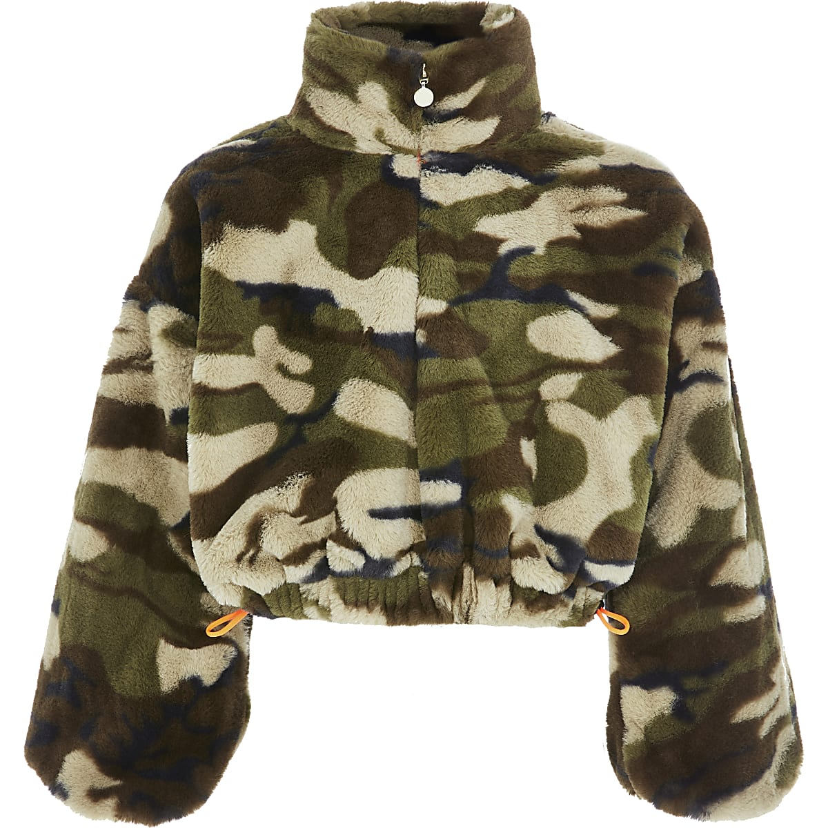 Girls green camo faux fur sweatshirt